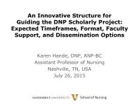 Tools for Excellence in the DNP Scholarly Project Process