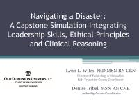 Navigating a Disaster: A Capstone Simulation Integrating