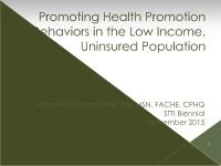 Promoting Health Promotion Practices in the Low Income
